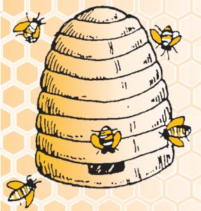 Gelée royale GPGR, la ferme au miel - Logo de la Ferme au Miel : ruche paille et abeilles